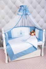 Комплект PREMIUM в кроватку 7-ми предметный AmaroBaby SWEET DREAMS (сатин, голубой)