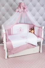 Комплект PREMIUM в кроватку 7-ми предметный AmaroBaby SWEET DREAMS (сатин, розовый)