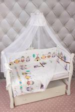 Комплект Lux детского постельного белья  7-ми предметный AmaroBaby ПТЕНЧИК (сатин, белый)
