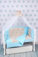 Комплект в кроватку 7-ми предметный на молнии AmaroBaby ВОЛШЕБНАЯ СКАЗКА (поплин, бирюзовый)