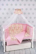 Комплект в кроватку 7-ми предметный на молнии AmaroBaby ВОЛШЕБНАЯ СКАЗКА (поплин, розовый)