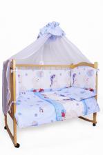 Комплект в кроватку 7-ми предметный Мишкин сон голубой, поплин