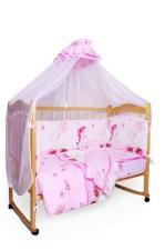 Комплект в кроватку 7-ми предметный Мишкин сон розовый, поплин