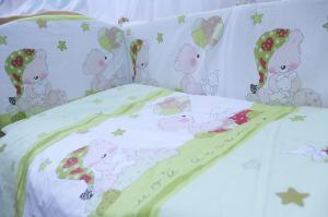 """фото комплекта в кроватку 7-ми предметный AmaroBaby МИШКИН СОН в цвете """"зелёный"""""""