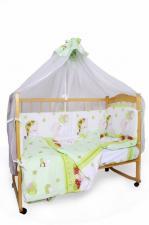 Комплект в кроватку 7-ми предметный AmaroBaby МИШКИН СОН (поплин, зелёный)