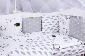 """фото комплекта в кроватку 15 предметов (3+12 подушек-бортиков) AmaroBaby GOOD NIGHT в цвете """"белый/серый"""""""