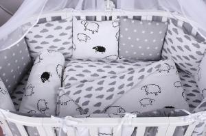 Комплект в кроватку 15 предметов (3+12 подушек-бортиков) AmaroBaby GOOD NIGHT (поплин/бязь)