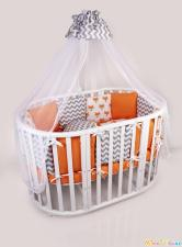Комплект в кроватку 15 предметов (3+12 подушек-бортиков) AmaroBaby LUCKY (оранжевый,поплин/бязь)