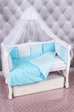 Комплект в кроватку 15 предметов (3+12 подушек-бортиков) AmaroBaby ROYAL BABY бирюза (бязь)