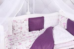 """фото комплекта в кроватку 15 предметов (3+12 подушек-бортиков) AmaroBaby АМЕЛИ в цвете """"вишня/белый"""""""