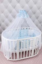 Комплект в кроватку 15 предметов (3+12 подушек-бортиков) AmaroBaby ВОЗДУШНЫЙ (бязь, голубой)