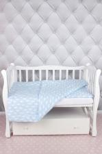 """фото комплекта в кроватку 3 предмета AmaroBaby BABY BOOM в цвете """"Облака/голубой"""""""