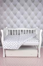 """фото комплекта в кроватку 3 предмета AmaroBaby BABY BOOM в цвете """"Облака/серый"""""""