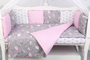 """фото комплекта в кроватку 3 предмета AmaroBaby BABY BOOM в цвете """"Мечта/серый"""""""