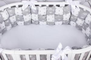 Борт Бонбон в кроватку 6 предметов (6 подушек-бортиков) AmaroBaby Royal care (бязь, серый)