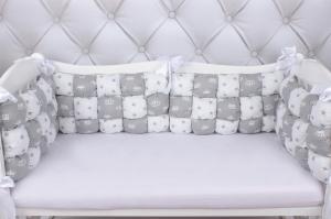 """фото борта Бонбон в кроватку 6 предметов (6 подушек-бортиков) AmaroBaby Royal care в цвете """"серый"""""""