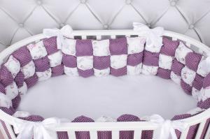 Борт Бонбон в кроватку 6 предметов (6 подушек-бортиков) AmaroBaby Royal care (бязь, вишня/белый)