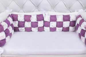 """фото борта Бонбон в кроватку 6 предметов (6 подушек-бортиков) AmaroBaby Royal care в цвете """"вишня/белый"""""""