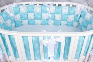 Борт Бонбон в кроватку 6 предметов (6 подушек-бортиков) AmaroBaby Royal care (бязь, бирюзовый)