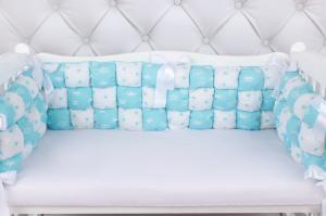 """фото борта Бонбон в кроватку 6 предметов (6 подушек-бортиков) AmaroBaby Royal care в цвете """"бирюзовый"""""""