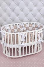 Борт Бонбон в кроватку 6 предметов (6 подушек-бортиков) AmaroBaby Royal care (бязь, коричневый)