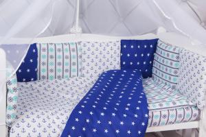 """фото борта Бонбон в кроватку 12 предметов (12 подушек-бортиков) AmaroBaby БРИЗ в цвете """"синий/белый"""""""