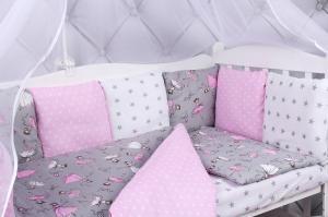 """фото борта Бонбон в кроватку 12 предметов (12 подушек-бортиков) AmaroBaby МЕЧТА в цвете """"серый/розовый"""""""