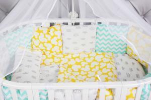 """фото борта Бонбон в кроватку 12 предметов (12 подушек-бортиков) AmaroBaby HAPPY BABY в цвете """"мятный/желтый"""""""