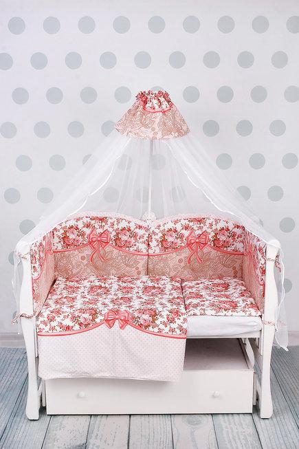 """фото комплекта в кроватку 12 предметов (6+6 подушек-бортиков) AmaroBaby ПРОВАНС в цвете """"розовый/белый"""""""