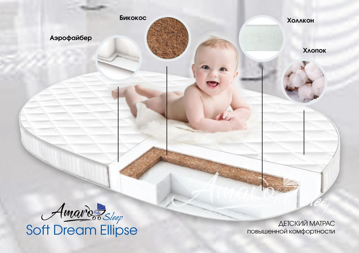 фото матраса Amaro Baby со съемным чехлом, Soft Dream Ellipse 1250 x 750 х 100 (10мм - бикокос, 80 мм - холлокон, аэрофайбер, хлопок)