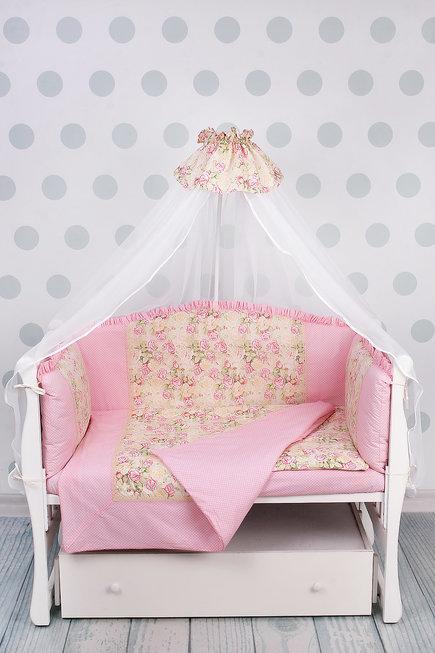 """фото комплекта в кроватку 7-ми предметный на молнии AmaroBaby ВОЛШЕБНАЯ СКАЗКА в цвете """"розовый"""""""