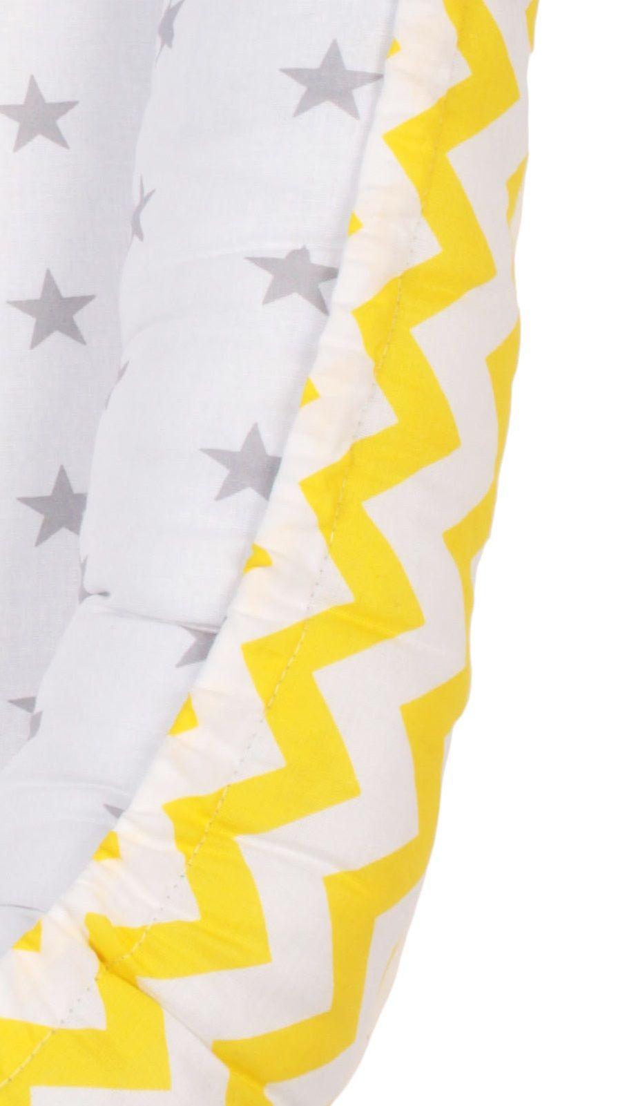 фото позиционера для сна AmaroBaby кокон-гнездышко, LITTLE BABY в цвете желтый/серый